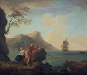 Amants à la pêche (Vernet Joseph) - Muzeo.com