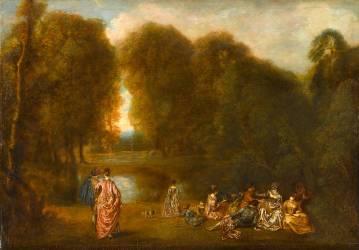 Assemblée dans un parc (Antoine Watteau) - Muzeo.com