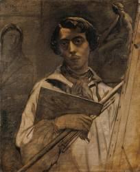 Autoportrait de l'artiste tenant une palette (Théodore Chasseriau) - Muzeo.com
