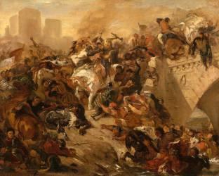 Bataille de Taillebourg gagnée par Saint Louis (21 juillet 1242) (Eugène Delacroix) - Muzeo.com
