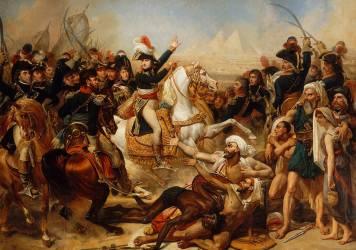Bonaparte haranguant l'armée avant la bataille des Pyramides, 21 juillet 1798 (Antoine-Jean Gros) - Muzeo.com