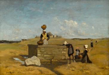 Bretonnes à la fontaine. Bourg de Batz (Loire-Atlantique) (Jean-Baptiste Camille Corot) - Muzeo.com