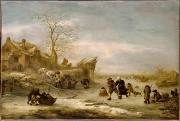 Canal gelé avec couple patinant (Isaak van Ostade) - Muzeo.com