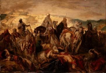Cavalier arabes emportant leurs morts après une affaire contre des spahis (Chasseriau Théodore) - Muzeo.com