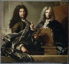 Charles le Brun (1619-1690) et Pierre Mignard (1612-1695), premiers peintres du roi (Hyacinthe Rigaud) - Muzeo.com