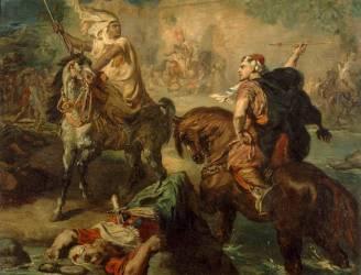 Chefs de tribus arabes se défiant au combat singulier, sous les remparts d'une ville (Chasseriau Théodore) - Muzeo.com