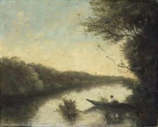 Copie du Pêcheur en barque le matin au vieil étang de Ville-d'Avray (Jean-Baptiste Camille Corot...) - Muzeo.com