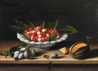 Coupe de cerises, prunes et melon (Louis Moïllon) - Muzeo.com