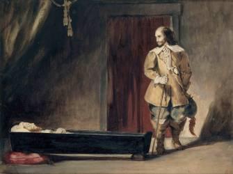 Cromwell devant le cercueil de Charles Ier (Eugène Delacroix) - Muzeo.com