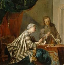 Dame cachetant une lettre (Chardin Jean Baptiste Siméon) - Muzeo.com