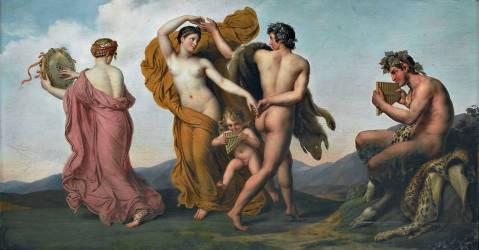 Danse des nymphes présidée par le dieu Pan (Anne-Louis Girodet) - Muzeo.com