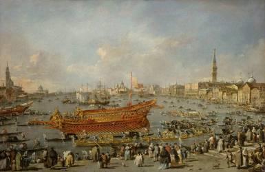 Départ du Bucentaure vers le Lido de Venise, le jour de l'Ascension (Francesco Guardi) - Muzeo.com