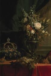 Détail de Reine Marie-Antoinette assise, en manteau bleu et robe blanche, tenant un livre à la main (Elisabeth Vigée Le Brun) - Muzeo.com