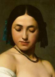 Détail d'Etude florentine ou jeune fille en buste les yeux baissés (Flandrin Hippolyte) - Muzeo.com