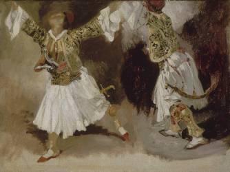 Deux guerriers grecs dansant (étude de costumes souliotes) (Eugène Delacroix) - Muzeo.com