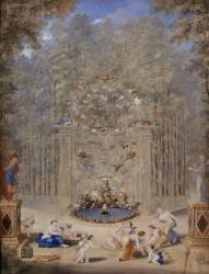 Deuxième vue de l'entrée du labyrinthe dans les jardins de Versailles (Jean Cotelle le Jeune) - Muzeo.com