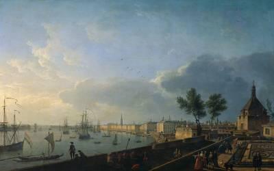 Deuxième vue du port de Bordeaux, prise du château trompette (Vernet Joseph) - Muzeo.com