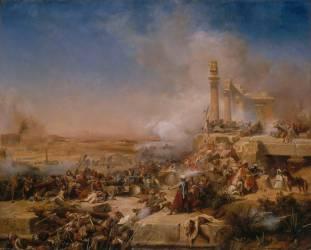 Episode de la campagne d'Egypte - Bataille d'Héliopolis le 20 mars 1800 (Karl Girardet) - Muzeo.com