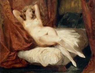 Etude de femme nue, couchée sur un divan, dit la femme aux bas blancs (Delacroix Eugène) - Muzeo.com