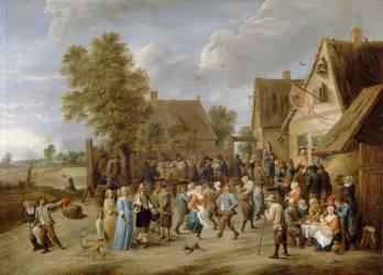 Fête villageoise, avec couple aristocratique (Teniers David le Jeune) - Muzeo.com