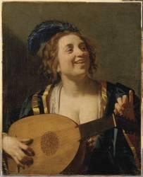 Femme accordant un luth (Gerrit Van Honthorst) - Muzeo.com
