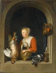 Femme accrochant un coq à sa fenêtre dit aussi La Ménagère Hollandaise (Gérard Dou) - Muzeo.com