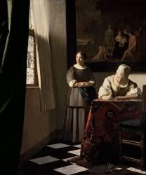 Femme écrivant une lettre et sa servante (Vermeer Johannes) - Muzeo.com