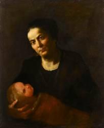 Femme tenant un enfant (Luca Giordano) - Muzeo.com