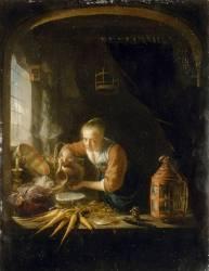 Femme versant de l'eau dans un récipient, dit aussi La Cuisine hollandaise (Gérard Dou) - Muzeo.com