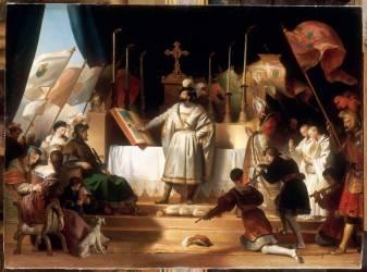 François Ier armé chevalier par Bayard au soir de la bataille de Marignan, 14 septembre 1515 (Alexandre-Evariste Fragonard ) - Muzeo.com