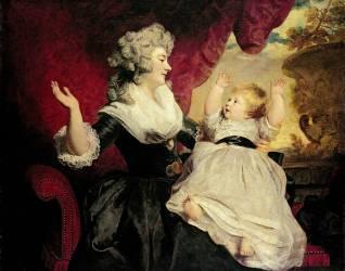 Goergiana, Duchesse de Devonshire (1757-1806) avec son Infante Fille Georgiana Cavendish (1783-1858) (Joshua Reynolds) - Muzeo.com
