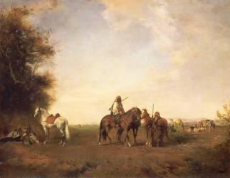 Halte de cavaliers arabes dans la plaine (Fromentin Eugène) - Muzeo.com