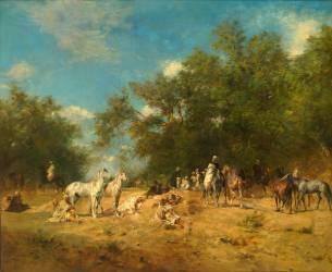 Halte de cavaliers arabes dans la forêt (Fromentin Eugène) - Muzeo.com