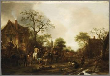 Halte de voyageur et cavaliers dans un village (Isaak van Ostade) - Muzeo.com