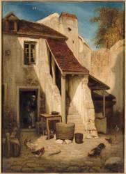Intérieur de cour rustique à Fontainebleau (Alexandre Gabriel Decamps) - Muzeo.com