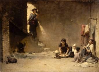 Intérieur à Bou-Saâda - scène orientale (Guillaumet Gustave Achille) - Muzeo.com