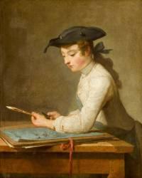 Jeune dessinateur taillant son crayon (Chardin Jean Baptiste Siméon) - Muzeo.com