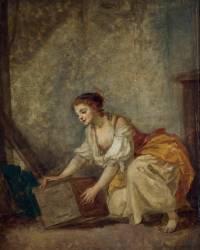 Jeune fille soulevant un coffre (Jean-Baptiste Greuze ) - Muzeo.com