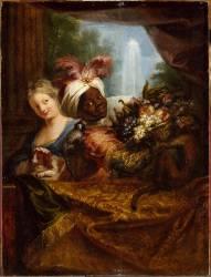 Jeune noir tenant une corbeille de fruits et jeune fille caressant un chien (Antoine Coypel) - Muzeo.com