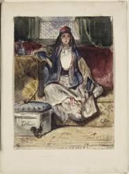 Jeune orientale assise sur un divan fumant dans un intérieur avec un écureil (Decamps Alexandre Gabriel) - Muzeo.com