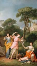 Jeunes grecques parant des Fleurs l'Amour endormi (Joseph Marie Vien) - Muzeo.com