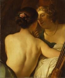 Jupiter, sous les traits de Diane, séduit Callisto (Gerrit Van Honthorst) - Muzeo.com