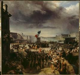 La garde nationale de Paris, rassemblée sur le pont Neuf, part pour l'armée en septembre 1792 (Léon Cogniet) - Muzeo.com