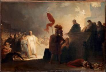 La lecture de sentence de condamnation des Templiers (Alexandre-Evariste Fragonard ) - Muzeo.com