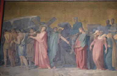 La montée au calvaire, peinture de la paroi de droite du sanctuaire, église Saint-Germain-des-Prés (Hippolyte Flandrin) - Muzeo.com