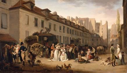 L'arrivée d'une diligence dans la cour des messageries (Louis-Léopold Boilly) - Muzeo.com