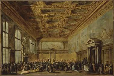 L'audience accordée par le Doge de Venise dans la salle du Collège au palais Ducal de Venise (Francesco Guardi) - Muzeo.com