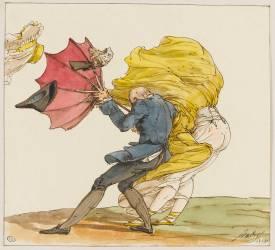 Le coup de vent, caricature (Jean-Baptiste Isabey) - Muzeo.com
