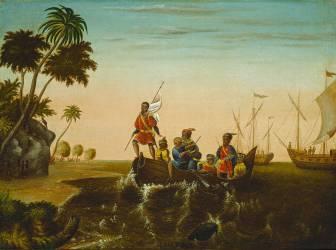 Le débarquement de Christophe Colomb (Edward Hicks) - Muzeo.com