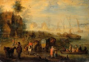Le débarquement (peint sur le revers d'un cuivre gravé par J. Meyssens) (Jan Brueghel l'Ancien) - Muzeo.com